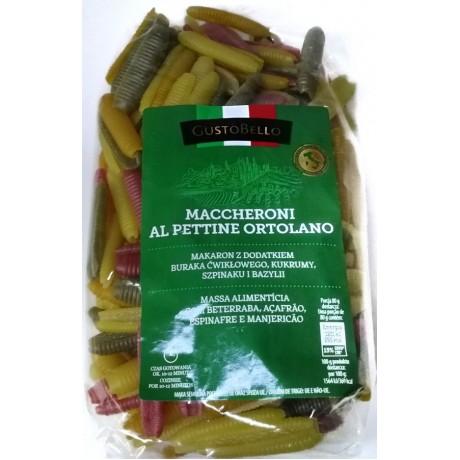 Паста цветная Maccheroni al pettine ortolano 500г, GustoBello