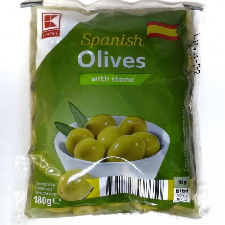 Оливки зеленые Spanish Olives with stone 180г, Classic