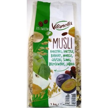 Мюсли Musli rodzynki, daktile, banany, morele, gruszki, sliwki 1 кг, Vitanella